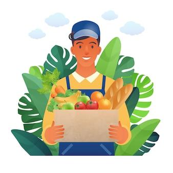 Hombre joven feliz que lleva artículos comestibles trabaja en dibujos animados planos del mercado de agricultores