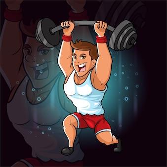 El hombre joven en forma profesional levantando la barra de la ilustración