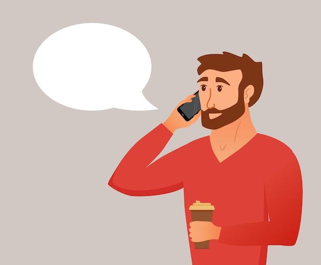 Hombre joven hablando por teléfono inteligente y entrega la taza de café