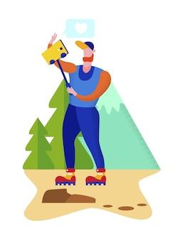 Hombre joven hace selfie de paisaje de montaña naturaleza