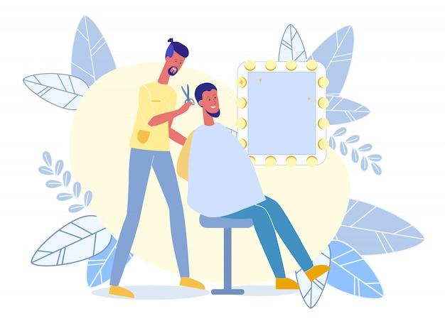 Hombre joven en la ilustración plana del vector de la peluquería de caballeros