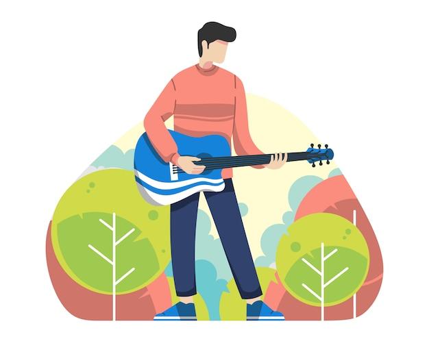 Hombre joven jugar guitarra ilustración vectorial al aire libre