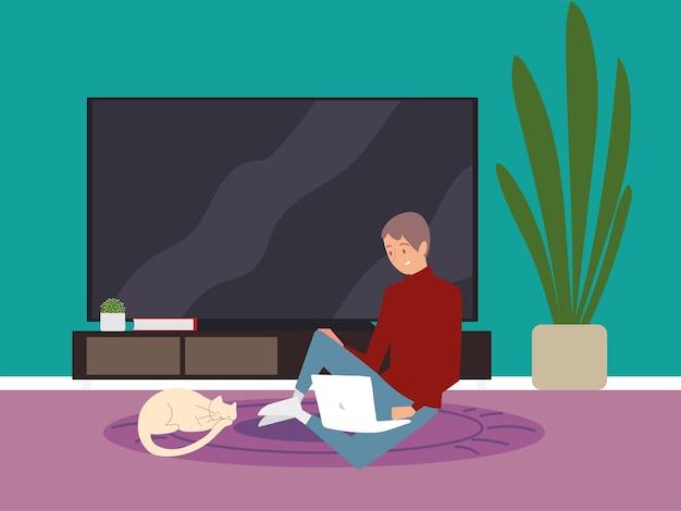 Hombre joven con laptop sentada en el piso trabajando ilustración