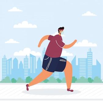 Hombre joven con máscara médica corriendo personaje de avatar