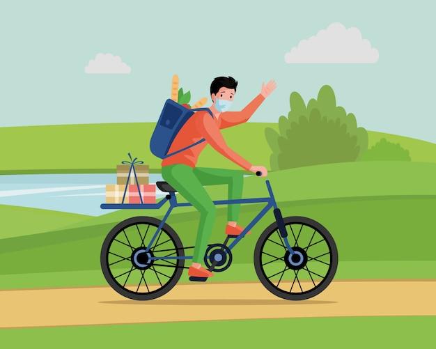 Hombre joven en mascarilla montando en bicicleta, entregar alimentos y mercancías desde el concepto de dibujos animados de supermercado.