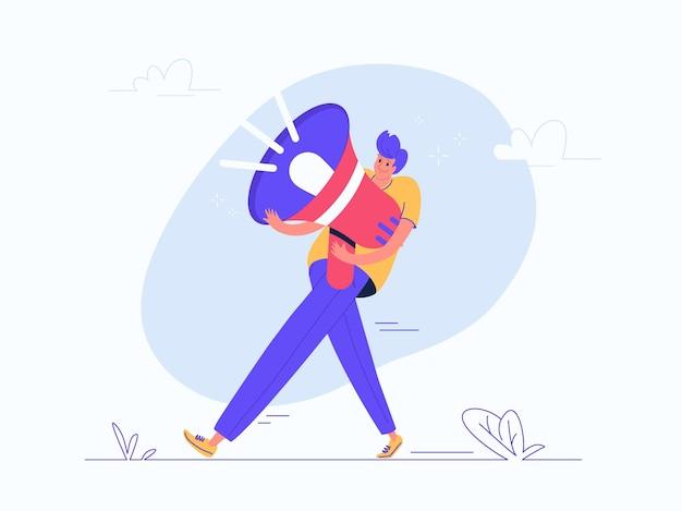 Hombre joven con megáfono rojo pesado. ilustración de vector plano moderno de la carga del marketing en redes sociales y anuncios en la red. diseño casual de personas con altavoz sobre fondo blanco.