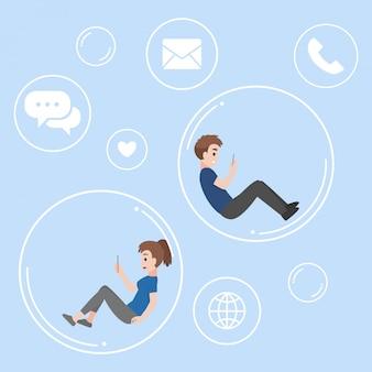 Hombre joven y mujer flotando dentro de la burbuja se comunican