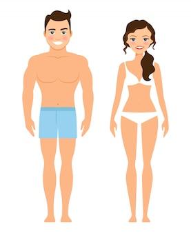 Hombre joven y mujer sanos