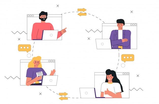 Hombre joven y mujeres que usan videollamadas y mensajes hablando aplicación de internet en la computadora portátil o teléfono inteligente.
