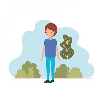 Hombre joven con personaje de avatar de paisaje