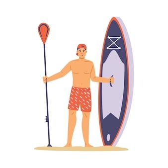 Hombre joven de pie en la playa y mantenga la tabla de remo una ilustración vectorial