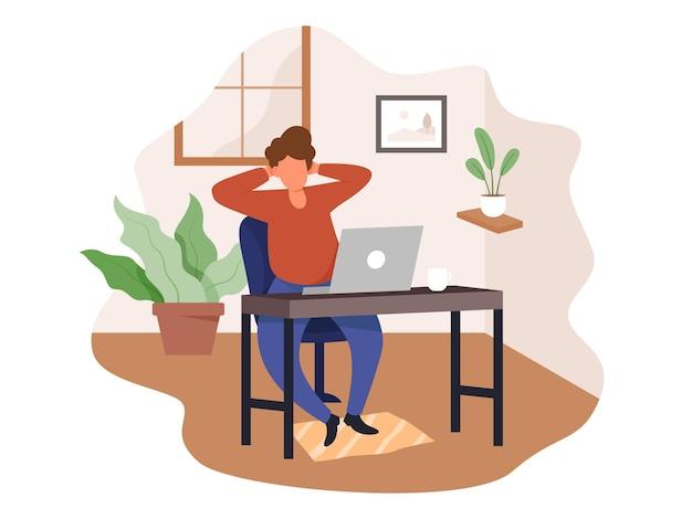 Hombre joven que trabaja desde casa. concepto de trabajo independiente, la gente trabaja de forma remota desde casa.