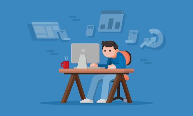 Hombre joven que trabaja desde casa, flujo de trabajo independiente en la computadora, concepto de cuarentena, ilustración de diseño plano.