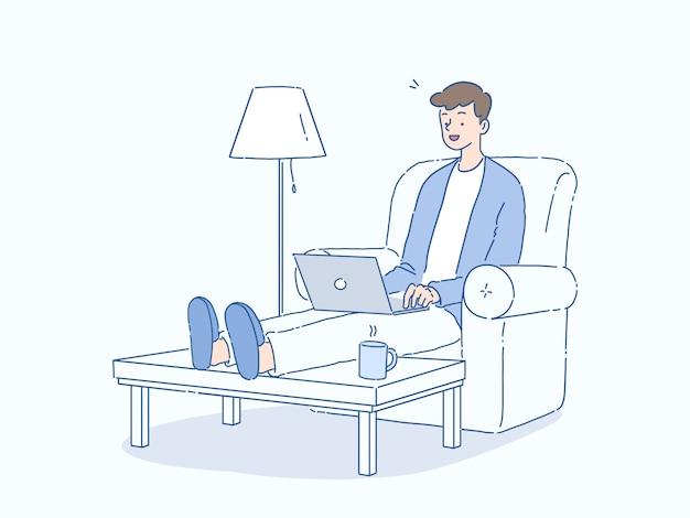 Hombre joven que trabaja desde casa, flujo de trabajo independiente en la computadora, usando internet, ilustración de estilo dibujado a mano.