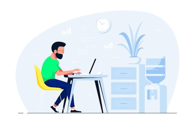 Hombre joven que trabaja en la computadora portátil en el escritorio en la oficina. ilustración de estilo plano