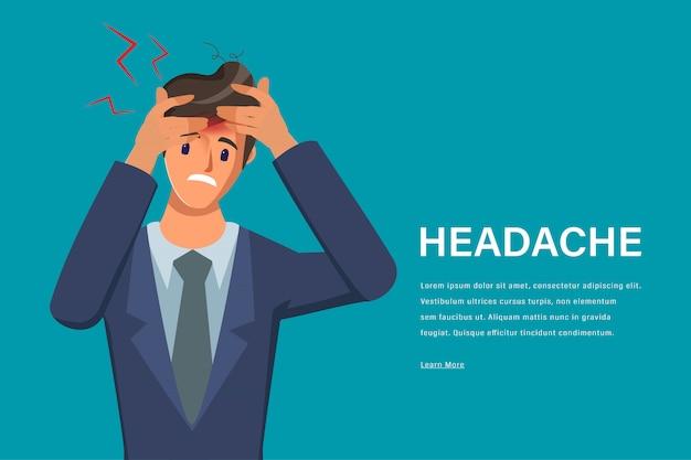 Hombre joven sensación de dolor de cabeza carácter. dolor en la cabeza centro médico sanitario.