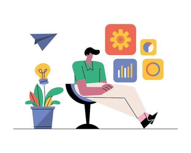 Hombre joven sentado en una silla con ilustración de iconos de negocios