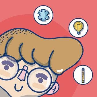 Hombre joven con símbolos dibujos animados lindo médico