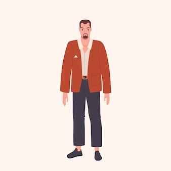 Hombre joven sospechoso con grandes brazos musculosos ilustración