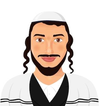 Hombre judío ortodoxo con sombrero en vector traje tradicional
