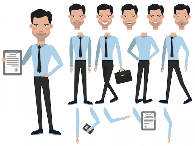 Hombre con juego de caracteres contratado con diferentes poses, emociones.