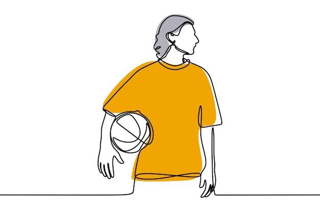 Hombre jugando baloncesto en línea arte de línea continua