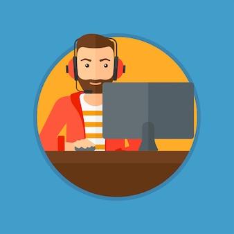 Hombre jugando el juego de computadora.
