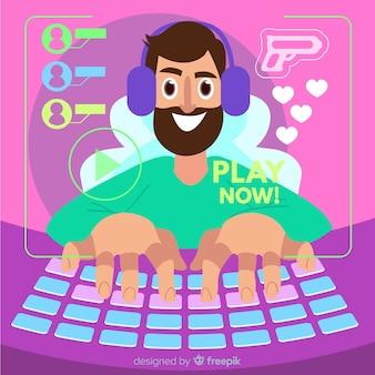Hombre jugando un juego en su computadora