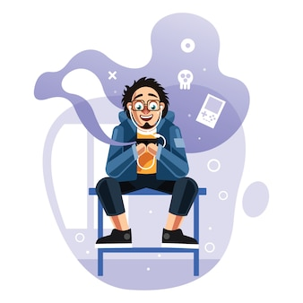 Hombre jugando juegos en el teléfono móvil