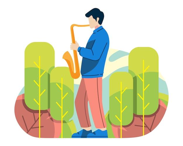Hombre jugar saxofón en ilustración vectorial de naturaleza