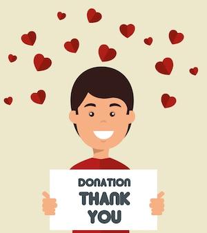 Hombre con junta para donación de caridad