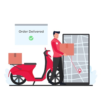 El hombre junto a las cajas de retención de scooter entregan el paquete al destino en la metáfora del teléfono de la entrega de seguimiento en línea.
