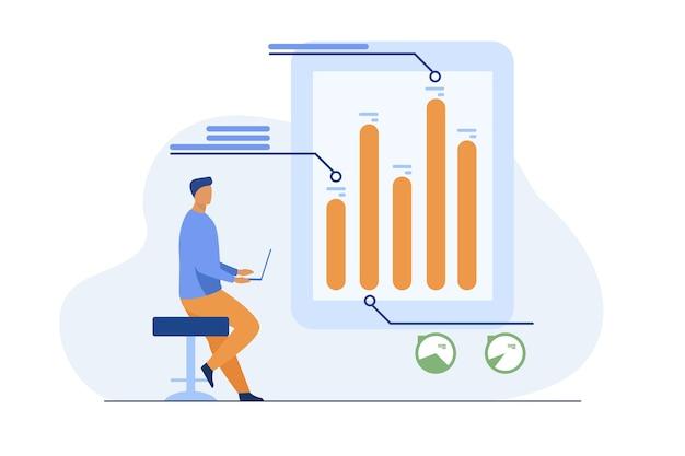 Hombre con laptop analizando infografías. diagrama, gráfico de barras, informe ilustración vectorial plana. análisis, marketing, director de proyectos