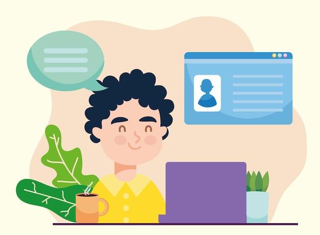 Hombre con laptop y curriculum vitae de trabajo virtual