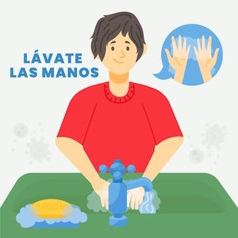 Hombre lavándose las manos en el fregadero