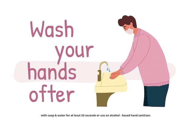 Hombre lavándose las manos. perspectiva joven parado en el lavabo. manos limpias. cuidado personal diario. prevención covid-19. ilustración en estilo de dibujos animados plana.