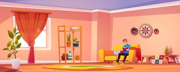 Hombre lee el libro en casa, joven personaje masculino sentado en el sofá en el interior de estilo bohemio relajándose leyendo literatura interesante o preparándose para el examen, concepto de educación