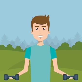 Hombre levantamiento de pesas en el campo