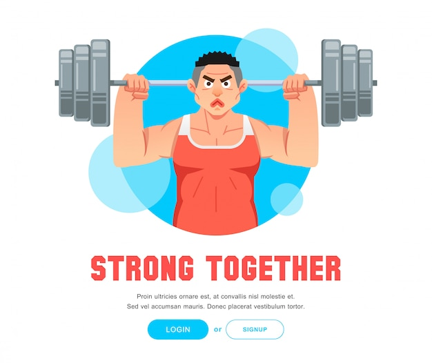 Hombre de levantamiento de pesas con cuerpo fuerte levantando barble grande con ilustración de dos manos