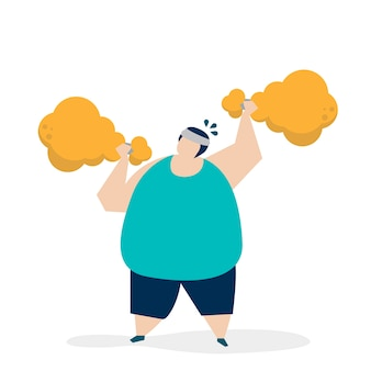 Hombre levantamiento de pesas una ilustración de palillo de pollo frito