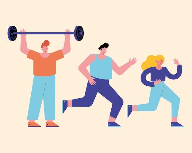 Hombre levantando peso y gente corriendo