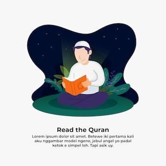 Hombre leyendo el corán e iluminado con la luz de la ilustración del libro sagrado.