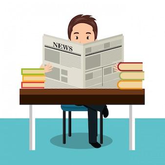Hombre leyendo icono de periódico