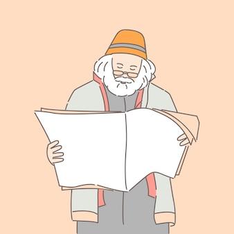 Hombre leyendo ilustración de dibujos animados de periódico o revista.