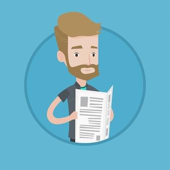 Hombre leyendo ilustración de vector de periódico.