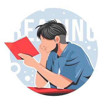 Hombre leyendo una ilustración de vector plano de libro