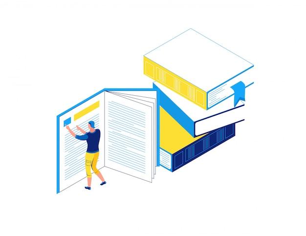 Hombre leyendo libro, concepto isométrico de biblioteca