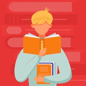 Hombre leyendo libro ilustración plana. junior con libro de texto. joven aprendiendo publicación. estudiante de pie leer y sostener enciclopedia personaje de dibujos animados sobre fondo rojo