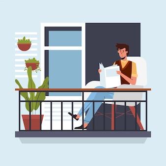 Hombre leyendo periódico staycation