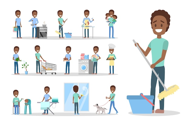 Hombre limpia la casa y hace las tareas del hogar. marido de casa haciendo la rutina doméstica diaria. ilustración de vector plano aislado